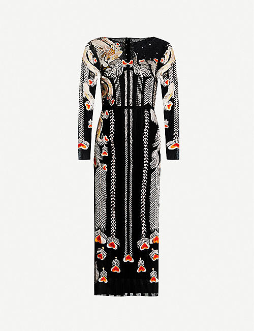 TEMPERLEY LONDON Firebird floral-embroidered tulle midi dress