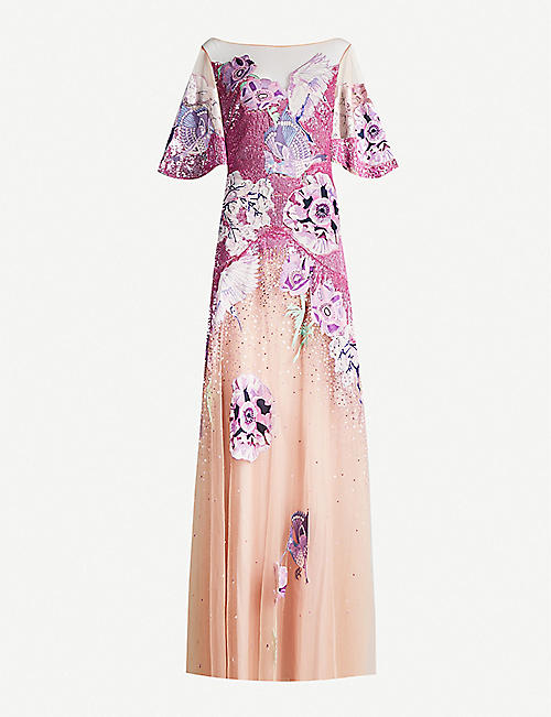 TEMPERLEY LONDON: Floral-embroidered sequins and tulle dress
