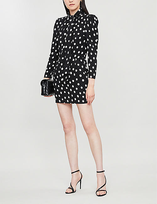 SAINT LAURENT Pussy-bow polka-dot crepe mini dress