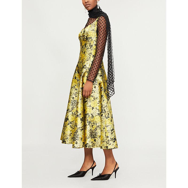 Verna Floral Jacquard Midi Dress, Yellow Black