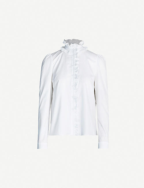 ERDEM Cadenza high-neck ruffled-trim cotton shirt