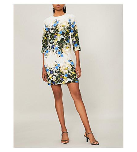 Emma 3/4-Sleeve Mariko Meadow Floral Shift Dress in White/Blue