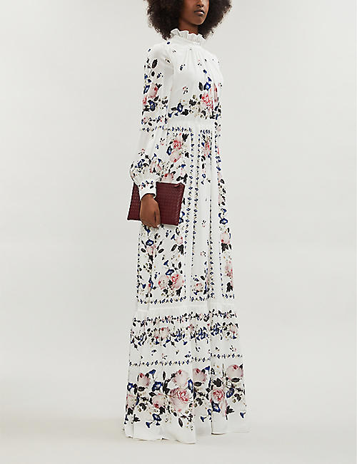 ERDEM Clementine high-neck floral-print silk gown