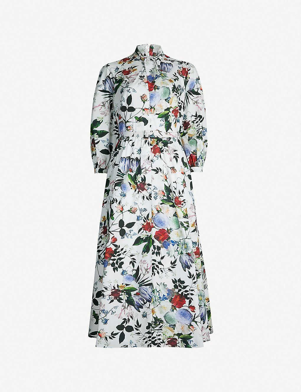Adrienne floral-print cotton-poplin midi dress