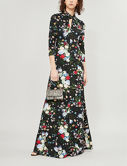ERDEM Nia high-neck floral-print stretch-jersey gown