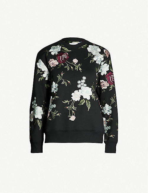 1c6eafe9e407f ERDEM Caitlin floral-embroidered stretch-jersey sweatshirt