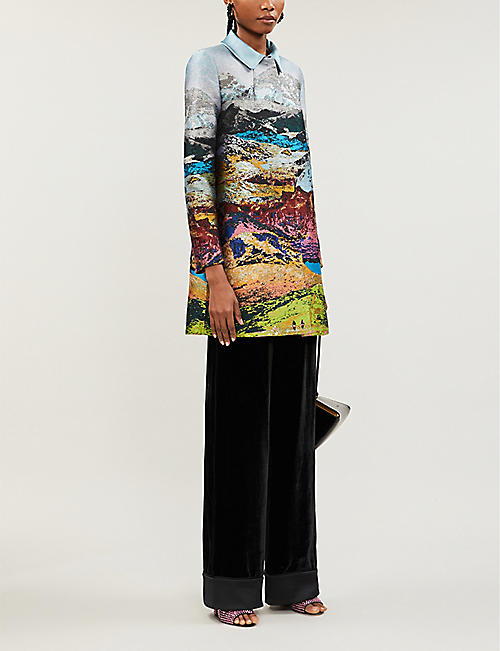 MARY KATRANTZOU Macaw wide-leg velvet trousers