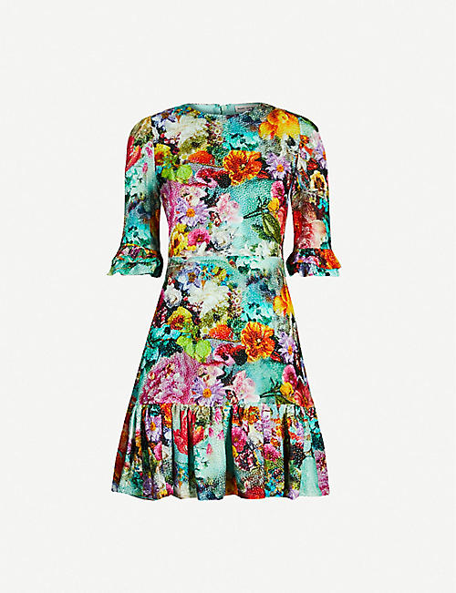 MARY KATRANTZOU Millais floral-print silk velvet-jacquard mini dress