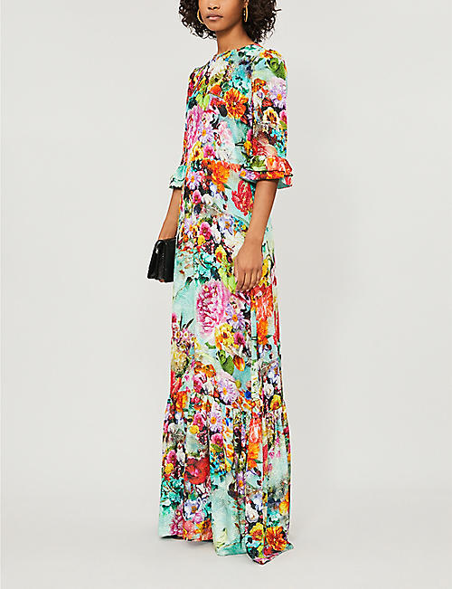 MARY KATRANTZOU Millais floral-print silk velvet-jacquard maxi dress