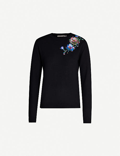 MARY KATRANTZOU Lizzie embellished-appliqué wool jumper