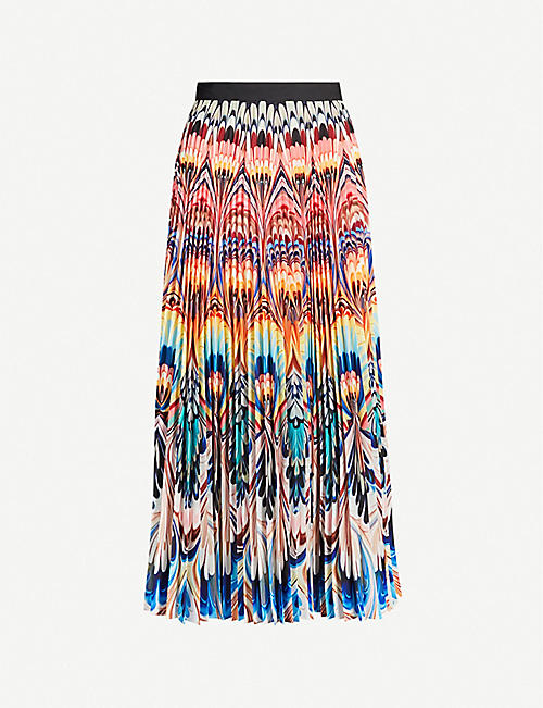 MARY KATRANTZOU Marble-print pleated crepe midi skirt