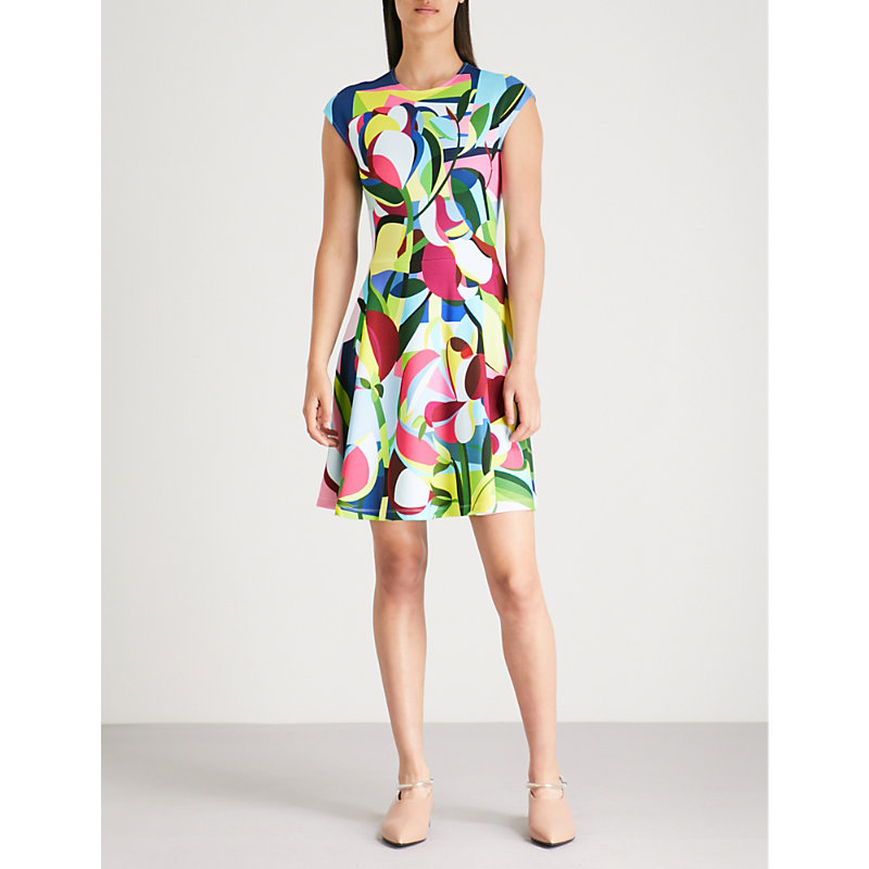 Pinto Abstract-Print Crepe Dress in Cubism Flowers