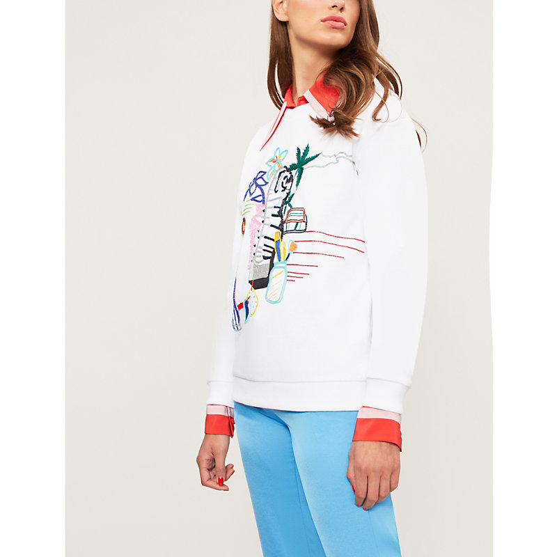 MARY KATRANTZOU Pop-Art Embroidered Cotton-Jersey Sweatshirt in White