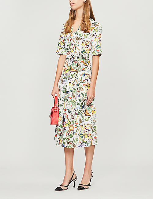 MARY KATRANTZOU V-neck cotton midi dress