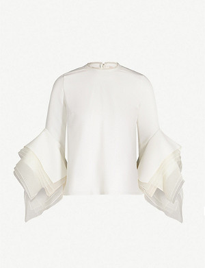 ROKSANDA Rana fluted-sleeve cady top