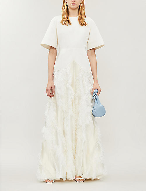 ROKSANDA Short-sleeved twill-and-feather bridal gown