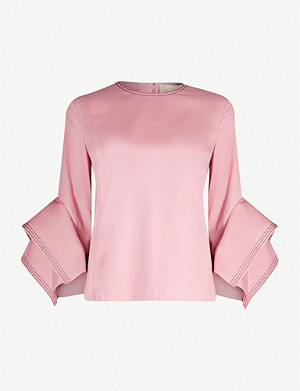 ROKSANDA Rana fluted-sleeve cotton-poplin top