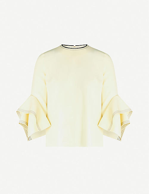 ROKSANDA Rana fluted-sleeve stretch-crepe top