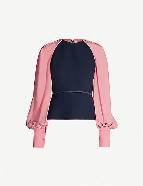 ROKSANDA Alana puff-sleeved silk-blend top