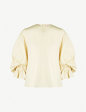 ROKSANDA Seya balloon-sleeved cotton-poplin top