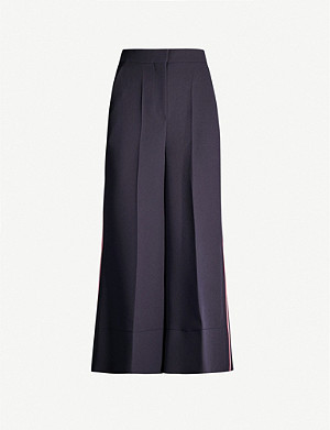 ROKSANDA Hasani side-stripe wide high-rise crepe trousers