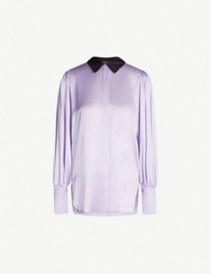 ROKSANDA Anthea contrast-collar silk-satin shirt