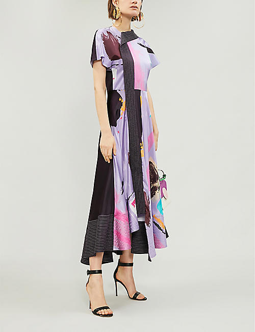 ROKSANDA Kabena asymmetric printed silk-satin midi dress