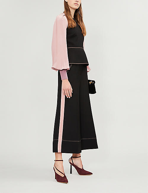 ROKSANDA Hasani side-stripe wide-leg crepe trousers