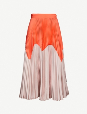 ROKSANDA Ollyn colour-blocked pleated crepe skirt