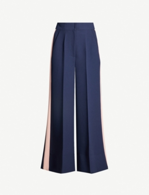 ROKSANDA Hasani colour-block high-rise crepe wide-leg trousers