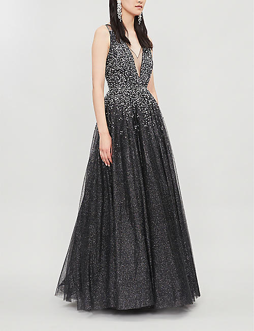 JENNY PACKHAM Edita V-neck sequin-embellished tulle gown