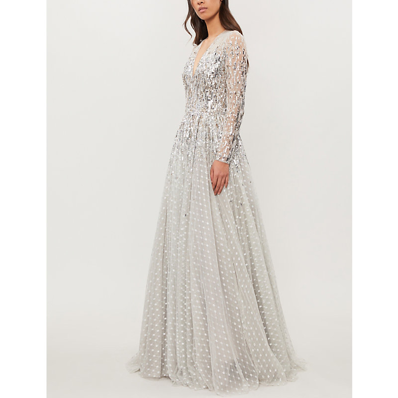 Jenny Packham BLANCHE EMBELLISHED POINT D'ESPRIT TULLE GOWN