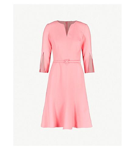 2b803343c7 OSCAR DE LA RENTA - Split-sleeve fit-and-flare stretch-wool dress ...