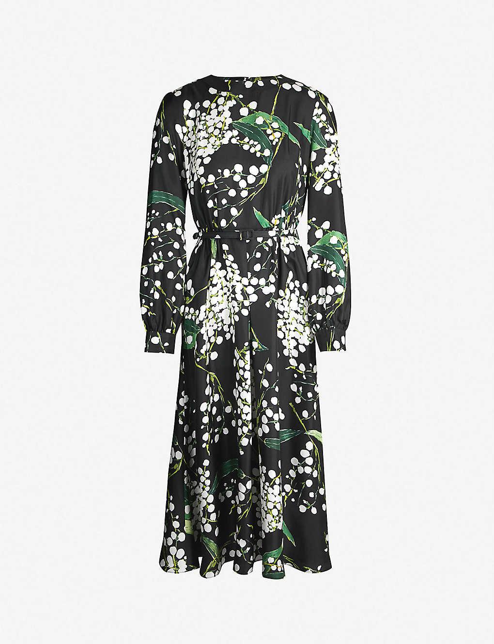 f541b9b6f22 OSCAR DE LA RENTA - Bloom-print silk-satin midi dress