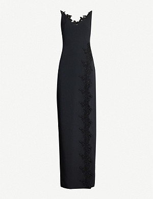 DAVID KOMA Butterfly-motif crepe gown