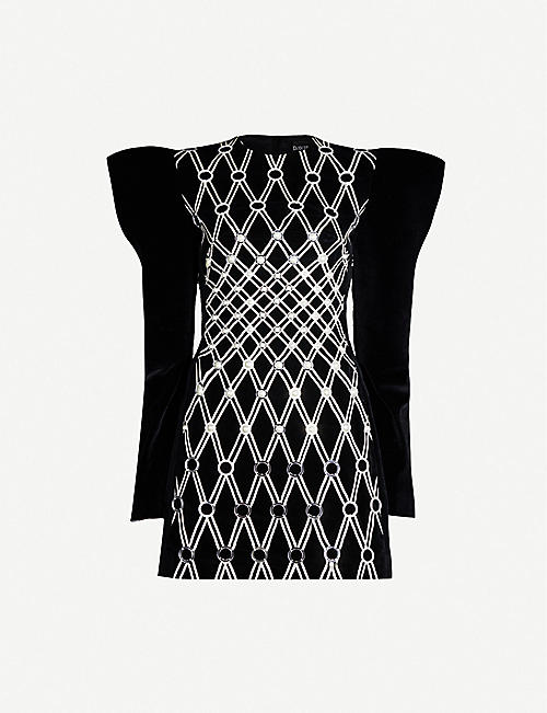 DAVID KOMA Structured embroidered velvet mini dress