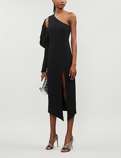 DAVID KOMA One-shoulder puff-sleeved crepe midi dress