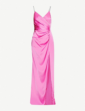 DAVID KOMA Diamante-embellished draped satin gown