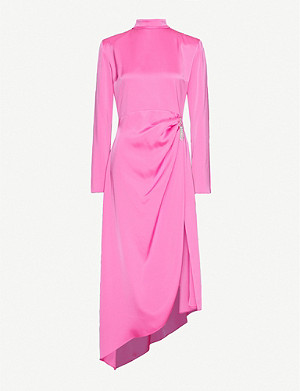 DAVID KOMA Ruched crystal-embellished satin midi dress