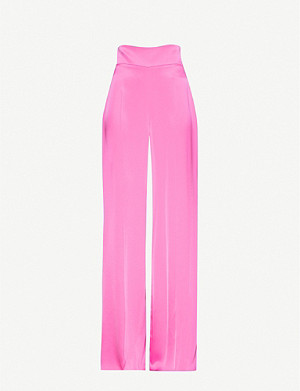 DAVID KOMA Wide-leg high-rise satin trousers