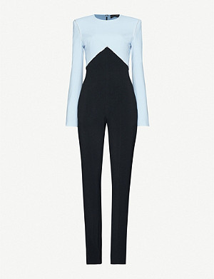 DAVID KOMA Contrast-panel crystal-embellished crepe jumpsuit