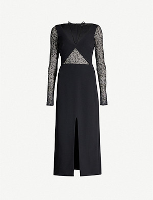 DAVID KOMA Sequinned sheer-panel lace gown
