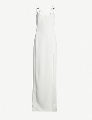 DAVID KOMA Embellished sides-lit crepe dress