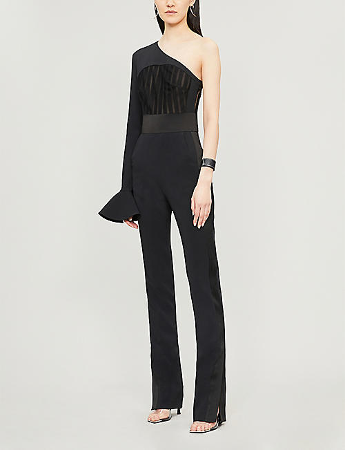 DAVID KOMA Macramé-panel crepe jumpsuit