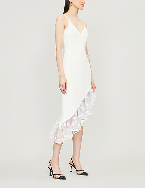 dd5779732c5 DAVID KOMA Polka-dot-hem asymmetric crepe midi dress