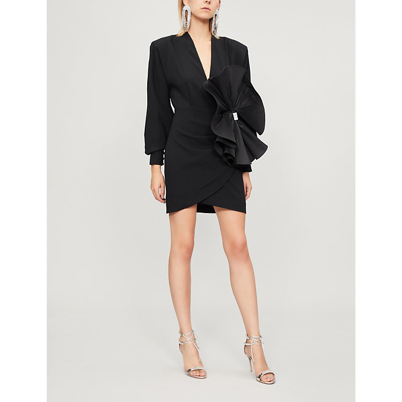 Alessandra Rich Corsage Embellished Wool Crepe Mini Dress In Black