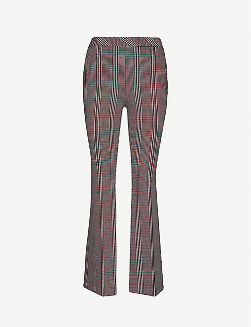 ROSETTA GETTY Houndstooth-print flared woven trousers