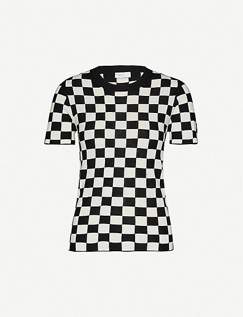 ROSETTA GETTY Checked silk and cashmere-blend T-shirt