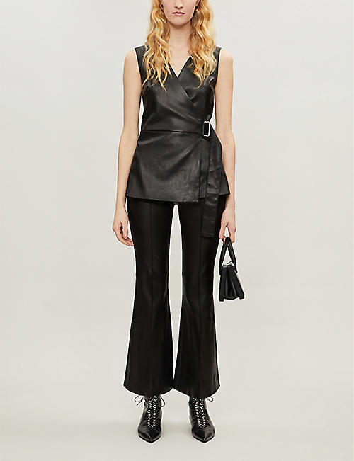 ROSETTA GETTY Tie-belt sleeveless leather top