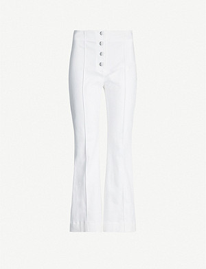 ROSETTA GETTY Flared high-rise cotton-blend twill trousers
